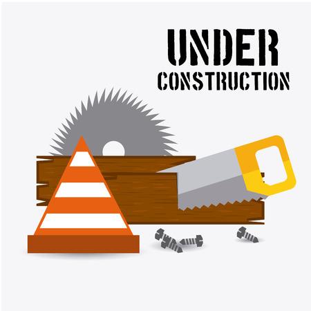 warning saw: under construction design, vector illustration  graphic