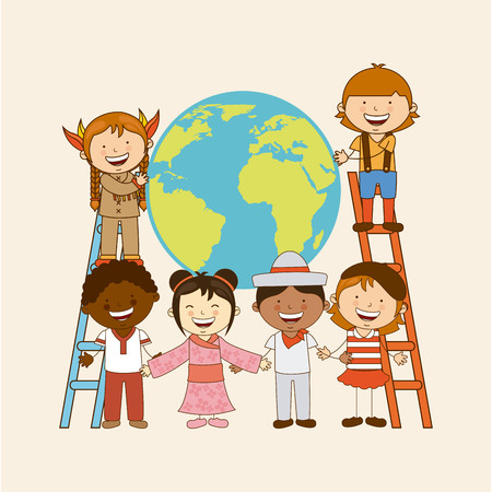 multiethnic community design, vector illustration graphic