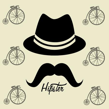 mister: Hipster design over beige background, vector illustration. Illustration