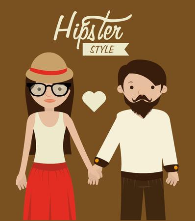mister: Hipster design over brown background, vector illustration.