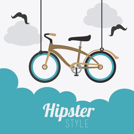 cloudscape: Hipster design over cloudscape background, vector illustration. Illustration