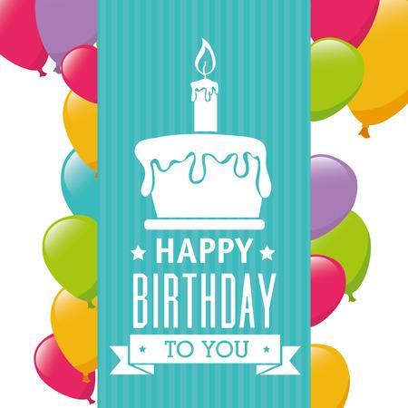 Happy Birthday card design, vector illustration.