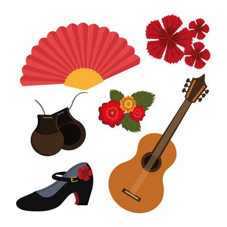 Diseño flamenco sobre fondo blanco, ilustración vectorial.