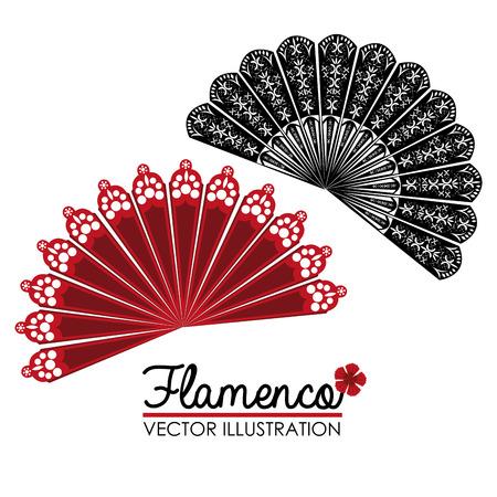 Flamenco ontwerp op een witte achtergrond, vector illustratie. Stock Illustratie
