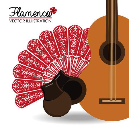 Flamenco disegno su sfondo bianco, illustrazione vettoriale. Archivio Fotografico - 36897374