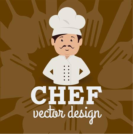 ailment: Dise�o del restaurante sobre fondo marr�n, ilustraci�n vectorial.