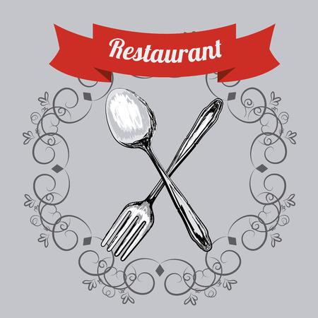 nutritive: Restaurant design over gray background, vector illustration.
