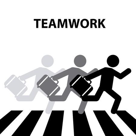senda peatonal: diseño de paso de peatones trabajo en equipo, ejemplo gráfico del vector eps10