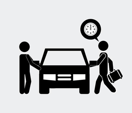 the driver: driver car design, vector illustration