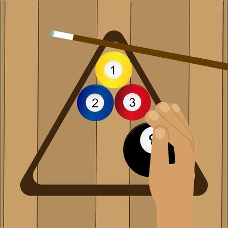 pool cues: billiard emblem design, vector illustration