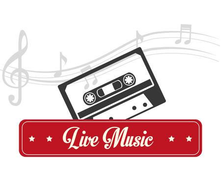 tracks live: Music design over white background, vector illustration. Illustration