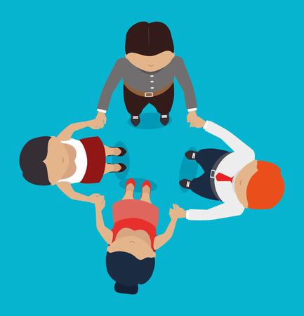 sociology: Trabajo en equipo de diseño, ilustración vectorial.