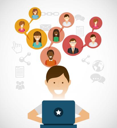 社会的なネットワーク デザイン、ベクトル図 eps10 グラフィック  イラスト・ベクター素材