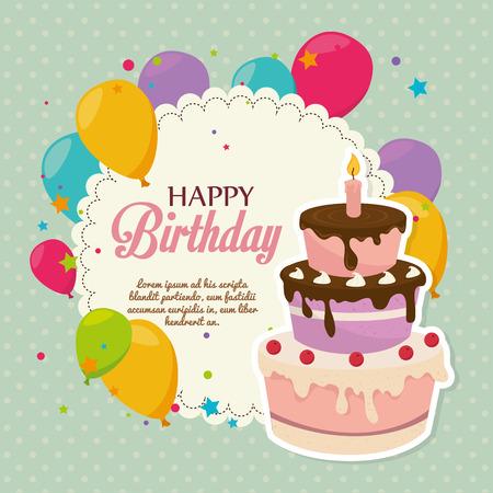 decoracion de pasteles: Diseño del cumpleaños sobre fondo verde, ilustración vectorial.