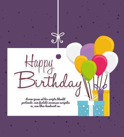 Diseño del cumpleaños sobre fondo púrpura, ilustración vectorial. Foto de archivo - 37084600
