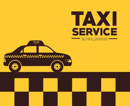 servicios publicos: Dise�o Taxi sobre fondo amarillo, ilustraci�n vectorial. Vectores