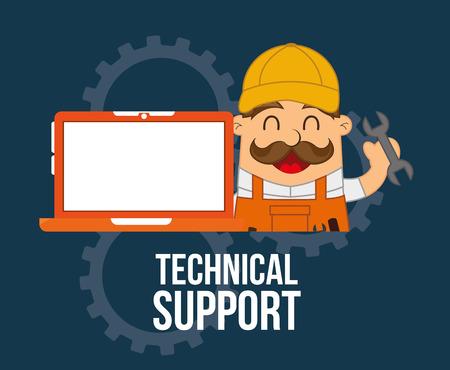 computer support: disegno supporto informatico, illustrazione grafica vettoriale Vettoriali