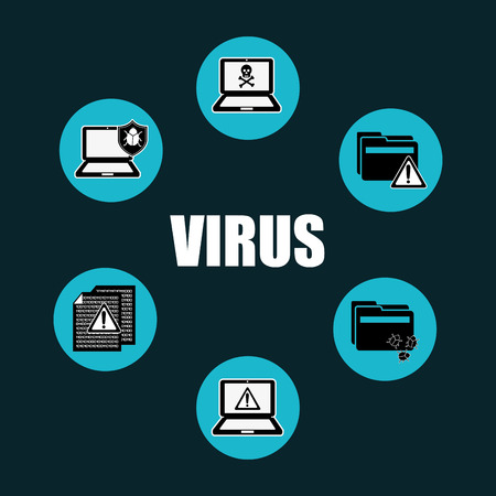 computer icon set: computer virus design, vector illustration eps10 graphic