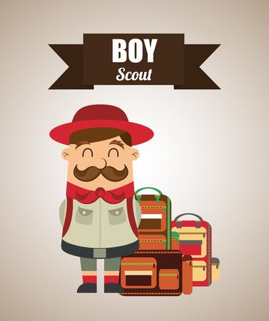 esploratori: boy disegno esploratore, illustrazione grafica vettoriale eps10