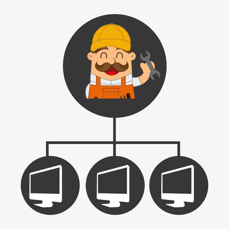 computer support: disegno supporto informatico, illustrazione grafica vettoriale eps10 Vettoriali