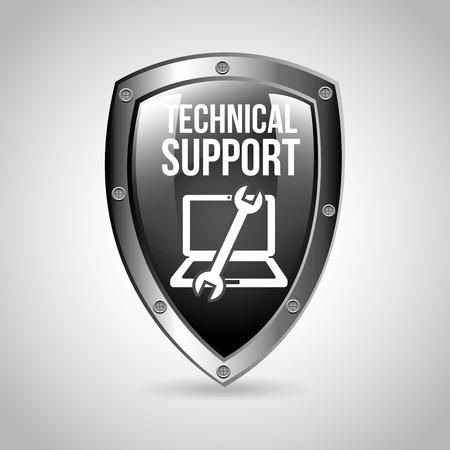 computer support: computer support design Illustration