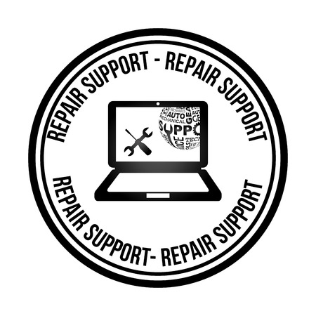 computer repair concept: computer support design, vector illustration eps10 graphic