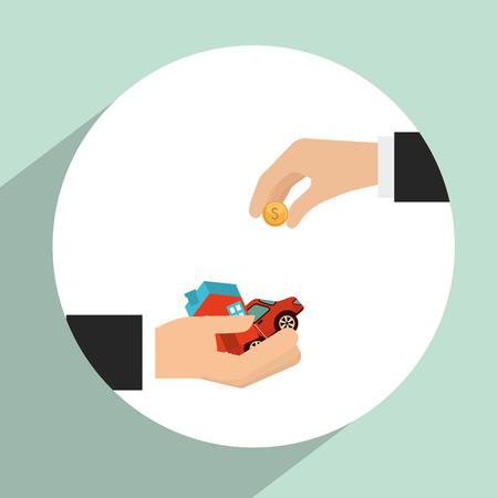 house exchange: money concept design, vector illustration eps10 graphic