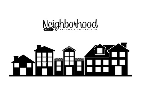 houses street: welcome neighborhood design, vector illustration