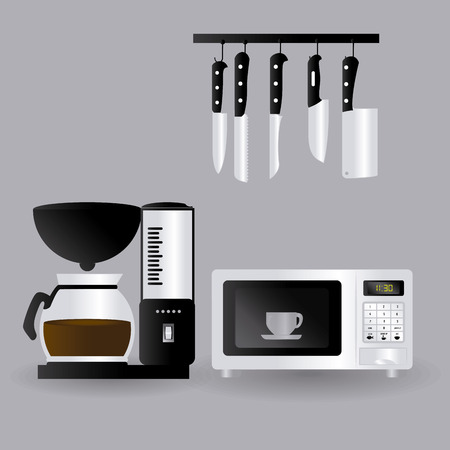 cofffee: Kitchen design over gray background, vector illustration.