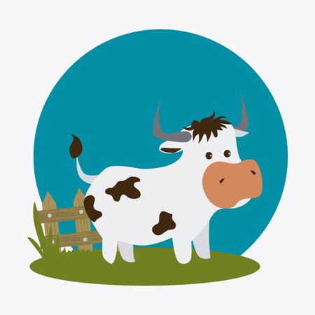 vaca caricatura: Dise�o de la granja sobre el fondo blanco, ilustraci�n vectorial.