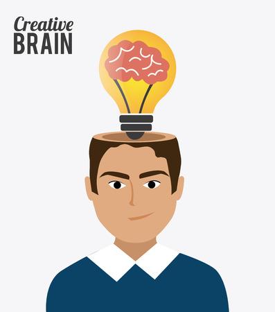 cerebro humano: Diseño Idea sobre fondo blanco, ilustración vectorial. Vectores