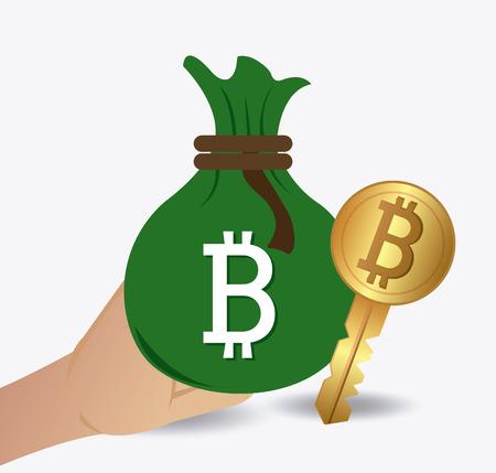 Bitcoin desgin over witte achtergrond, vector illustratie.