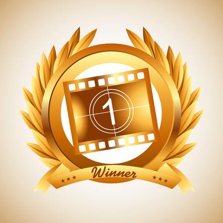 award winning: film award design, vector illustration eps10 graphic