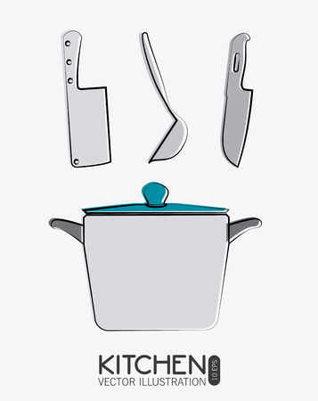 cooking utensils: Kitchen design over white background, vector illustration.