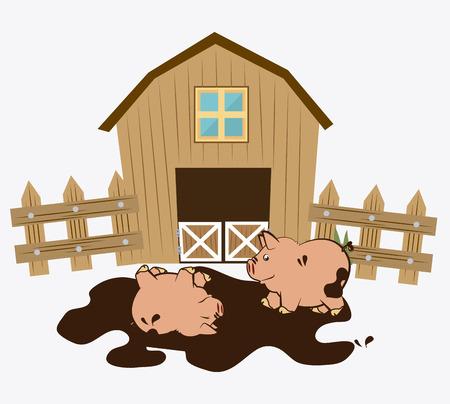 barnyard: Farm design over white background, vector illustration.