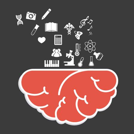 practical: Brain design over black background, vector illustration.