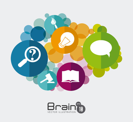 brain illustration: Brain design over white background, vector illustration.