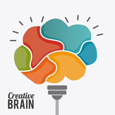 mentality: Brain design over white background, vector illustration.