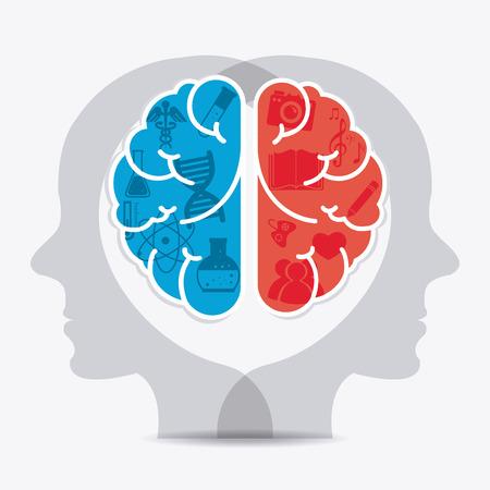 two minds: Brain design over white background, vector illustration.