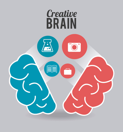 mentality: Brain design over gray background, vector illustration.