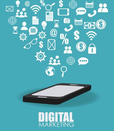 Marketing design over blue background, vector illustration.