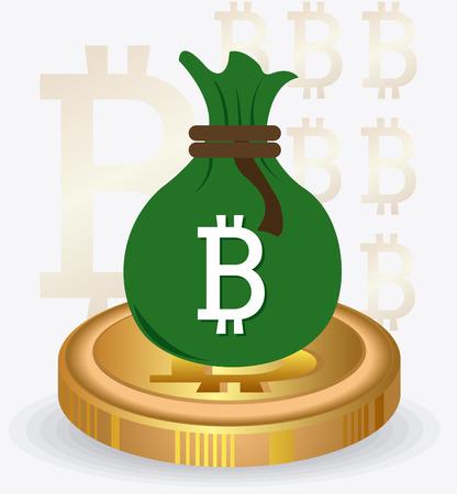 counting money: Bitcoin desgin over white background, vector illustration.