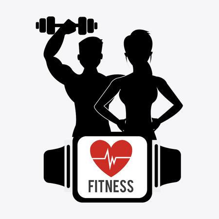 Fitness-Design über weißem Hintergrund Standard-Bild - 37511538