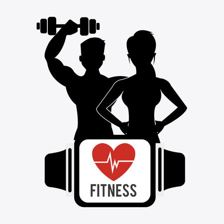 Fitness design over white background Çizim