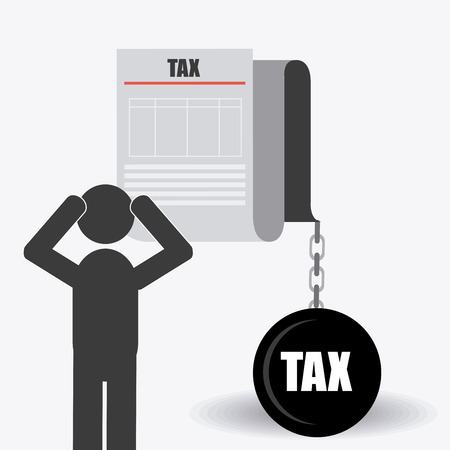prisoner of the money: Taxes design over white background
