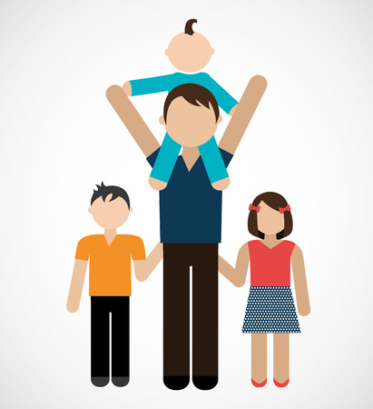 single parent: Family design over white background
