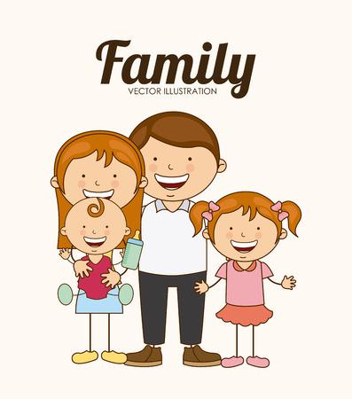 Disegno di amore della famiglia, illustrazione grafica vettoriale eps10 Archivio Fotografico - 37556697