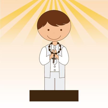 primera comunion: diseño de la religión católica, ejemplo gráfico del vector eps10 Vectores