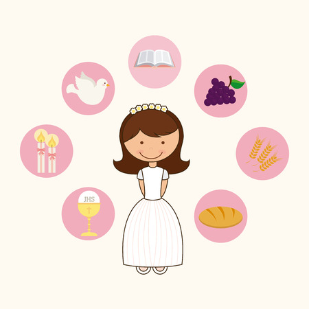 first communion: catholic religion design, vector illustration eps10 graphic