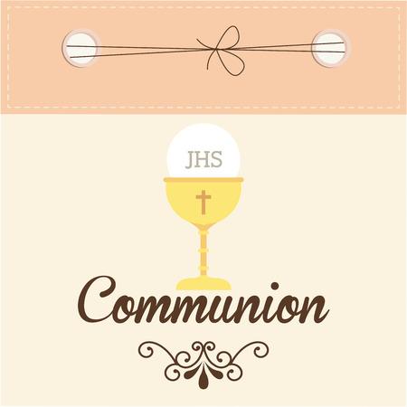 prima comunione: cattolico disegno religione, illustrazione grafica vettoriale eps10 Vettoriali